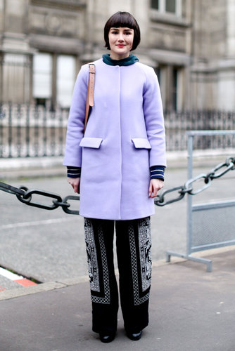 A pastel coat gave moody trousers a touch of Spring.