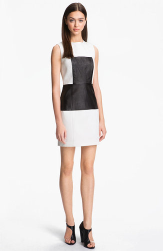 Tibi Paneled Leather & Cotton Dress