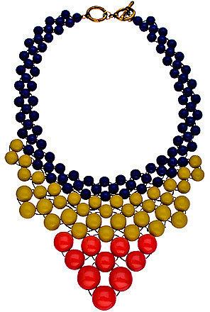 Blu Bijoux Navy Yellow and Coral Beaded Bib