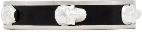 Alexander McQueen 3D Enamel Skull Bracelet in Gold & White