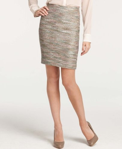Petite Multicolored Tweed Pencil Skirt
