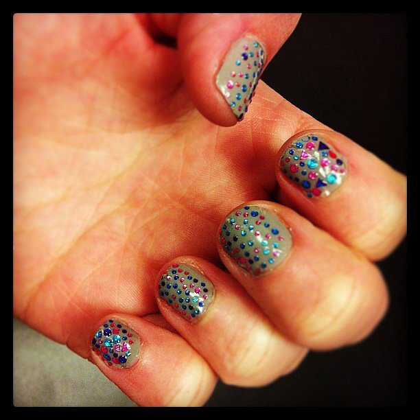 Confetti manicures are a fun way to jazz up a ho hum shade. Source: Instagram user aeropostale