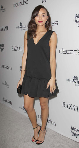 Ashley Madewke donned this drop-waist Three Floor LBD ($165) with dainty ankle-strap sandals to a Harper's Bazaar soiree in West Hollywood.