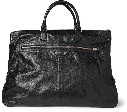 Balenciaga Creased-Leather Holdall Bag