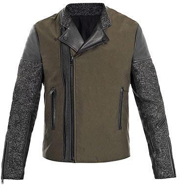 Balenciaga Tweed and leather biker jacket
