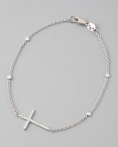 Roberto Coin Integrated Diamond Cross Bracelet, White Gold