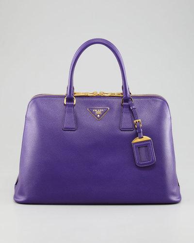 Prada Saffiano Lux Two-Way Zip Satchel Bag