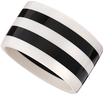 R.J. Graziano Black & White Striped Bangle
