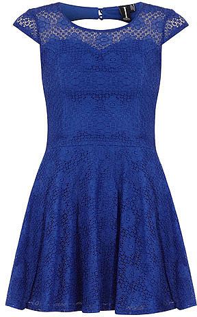 Blue crochet skater dress