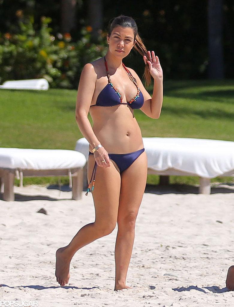 Kourtney Kardashian was back in a bikini after giving birth to Penelope.