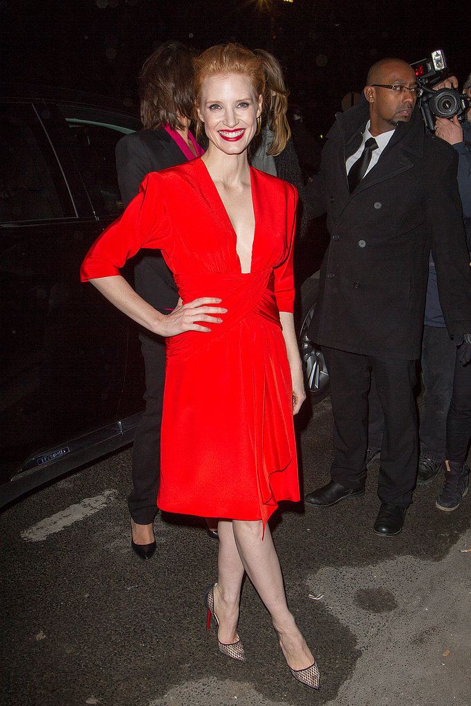 Jessica Chastain wore bright red to the Saint Laurent show in Paris in March.