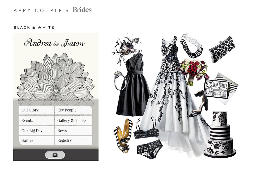 Make a modern statement with a bold Black and White ($28) themed wedding. Source: Appy Couple