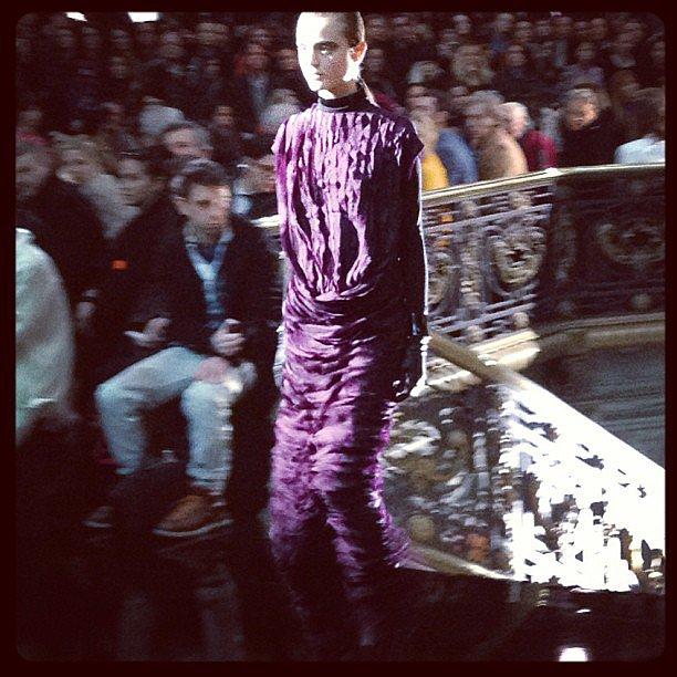 A tiered evening gown at John Galliano that will soon be on our Fall wish lists.