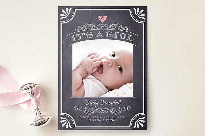 Minted Vintage Chalkboard Birth Announcement