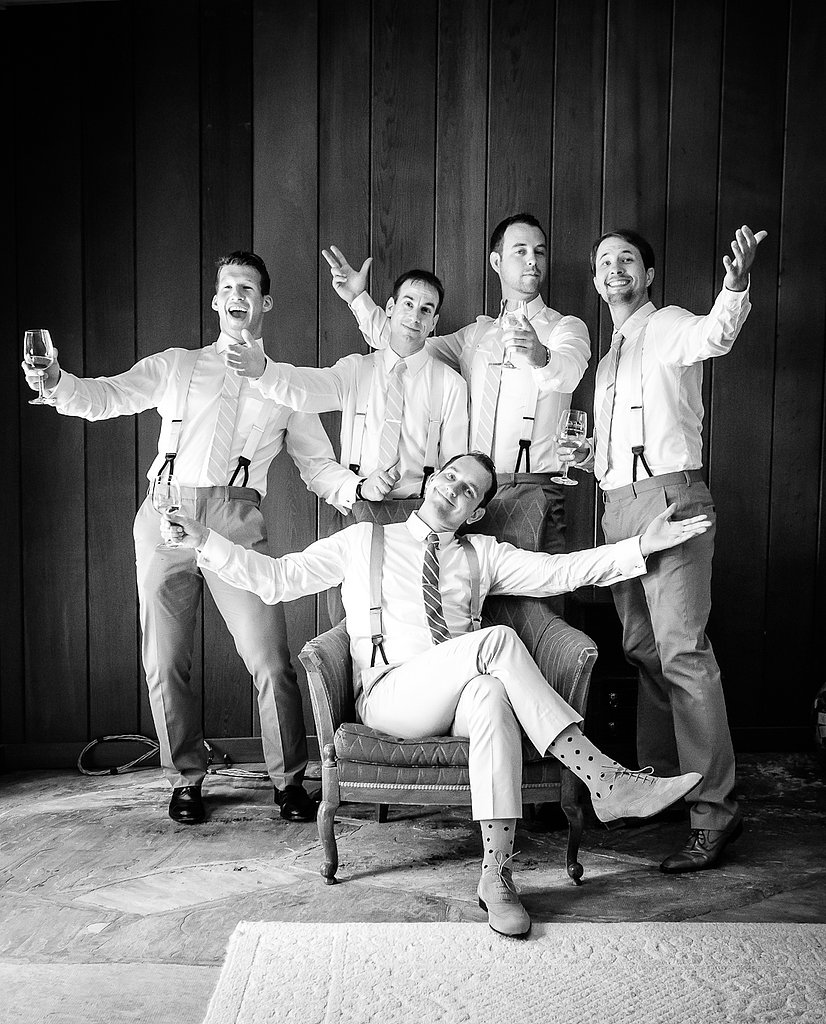 Keeping with the vintage-causal vibe of the wedding, the groomsmen added their own vintage flair with suspenders. Most of the guests arrived in deco-esque dresses, straw hats, and oxfords. Source: Juliette Tinnus