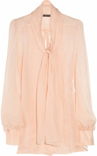 Alexander McQueen Silk-chiffon pussy-bow blouse