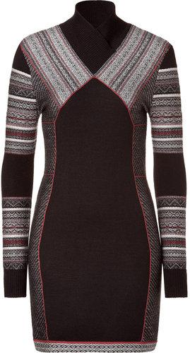 Matthew Williamson Black/Brown Paneled Knit Dress