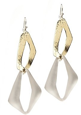 Alexis Bittar Otto Gold Double Link Earrings: Taupe