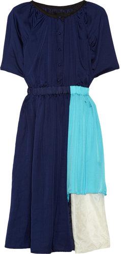 Cynthia Rowley Tetris asymmetric silk dress