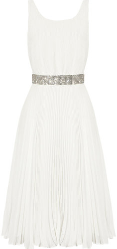 Alice + Olivia Cora plissé-georgette dress