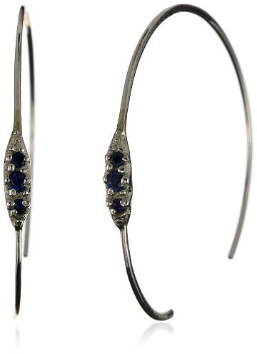 "Shaesby ""Flamenco"" Sterling Silver Blue Sapphire Tiny Bling Hoop Earrings"