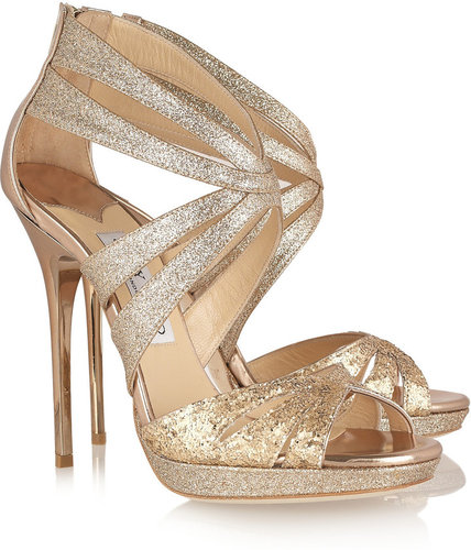 Jimmy Choo Garland glitter-finish leather sandals