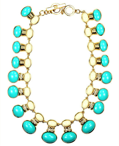 AK Anne Klein Necklace, Ivory and Turquoise Epoxy Collar Necklace