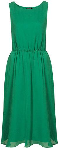 Silk Cute Skirted  Midi Dress