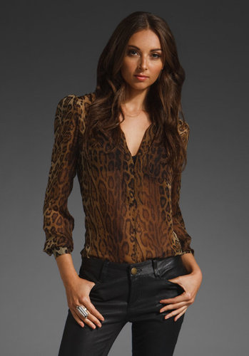 Haute Hippie Taming the Tiger Pocket Cowl Blouse