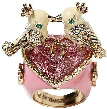 Betsey Johnson Love Birds Heart Ring
