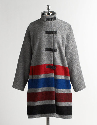 PLENTY BY TRACY REESE Blanket-Striped Duffel Coat