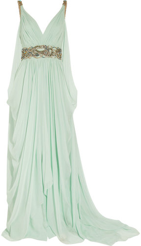 Marchesa Crystal-embellished silk-chiffon gown
