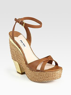 Miu Miu Espadrille Wedge Sandals