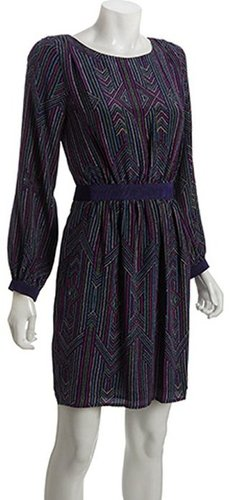 Shoshanna purple silk 'le petit rue' print long sleeve dress