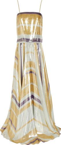 Lanvin Striped silk-blend lamé gown