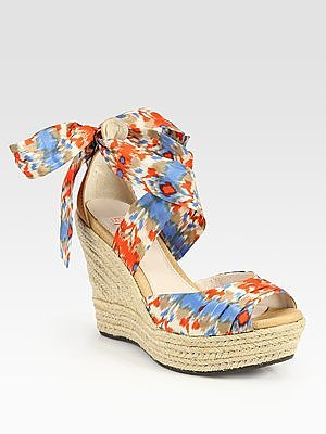 Lucianna Tie-Up Ikat-Print Silk and Leather Espadrille Wedge Sandals