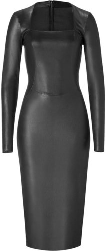 Jitrois Black L/S Stretch Leather Dress