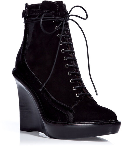 Givenchy Black Suede/Pony Hair Wedge Booties