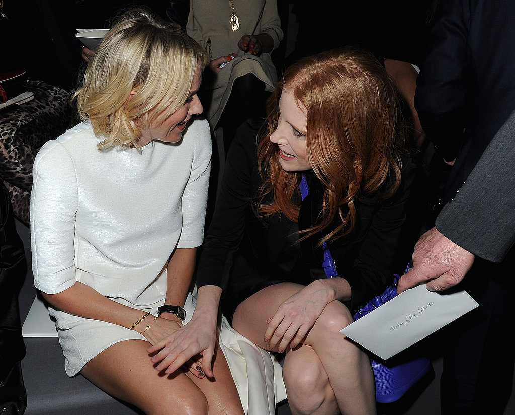 Naomi Watts and Jessica Chastain smiled while sitting in the front row at the Louis Vuitton show in Paris in March.
