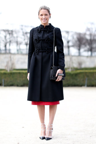 A perfectly polished ladylike play, complete with a beautifully embroidered coat and Valentino heels.