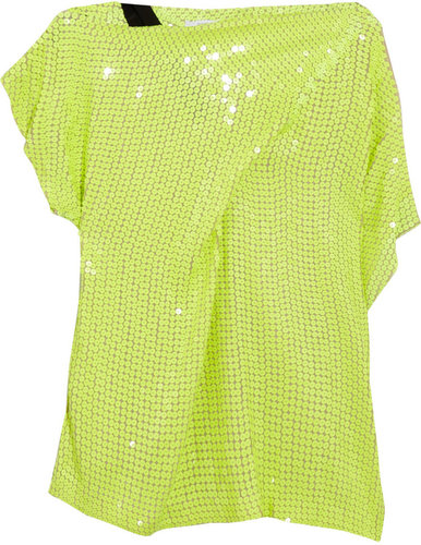 Diane von Furstenberg Mara asymmetric sequined silk top