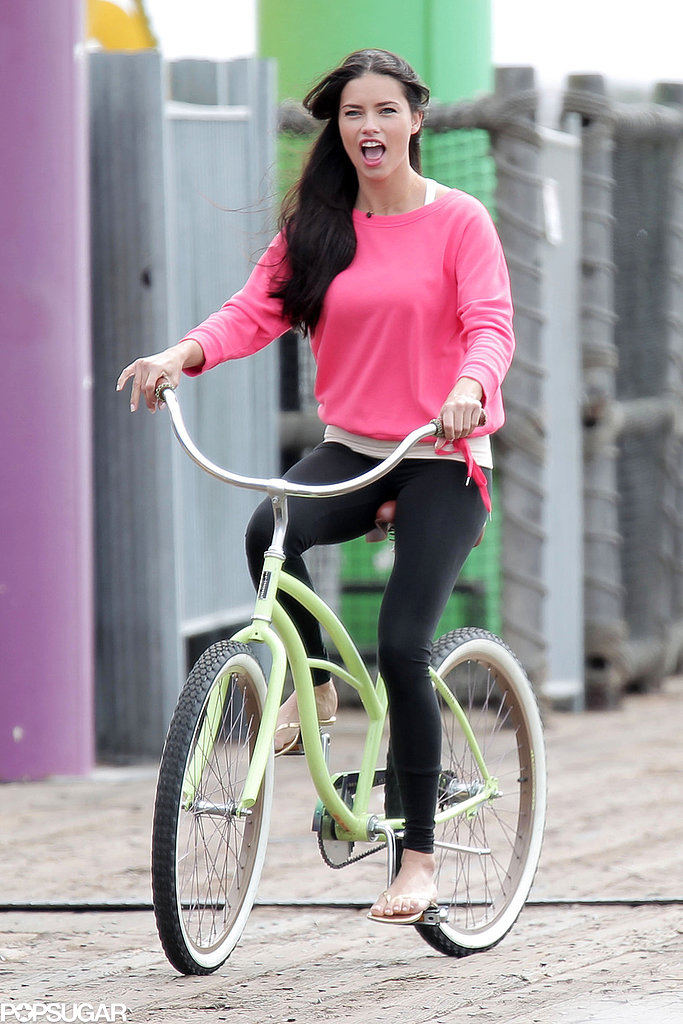 Adriana Lima rode a bike.