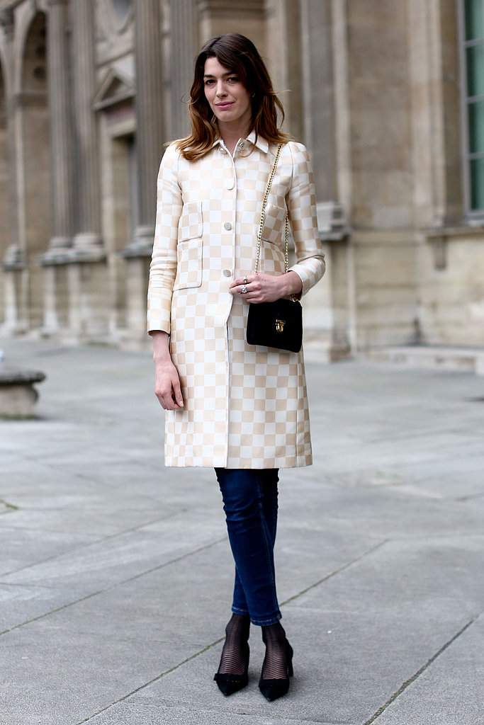 This attendee showed off Spring's must-have pattern on a checkered coat.
