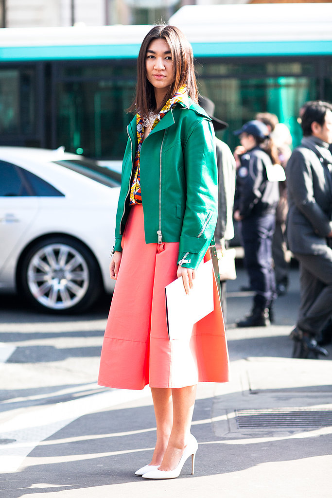 Brilliant color gave this ladylike look modern appeal, as did a cool-girl jacket. Source: Le 21ème | Adam Katz Sinding