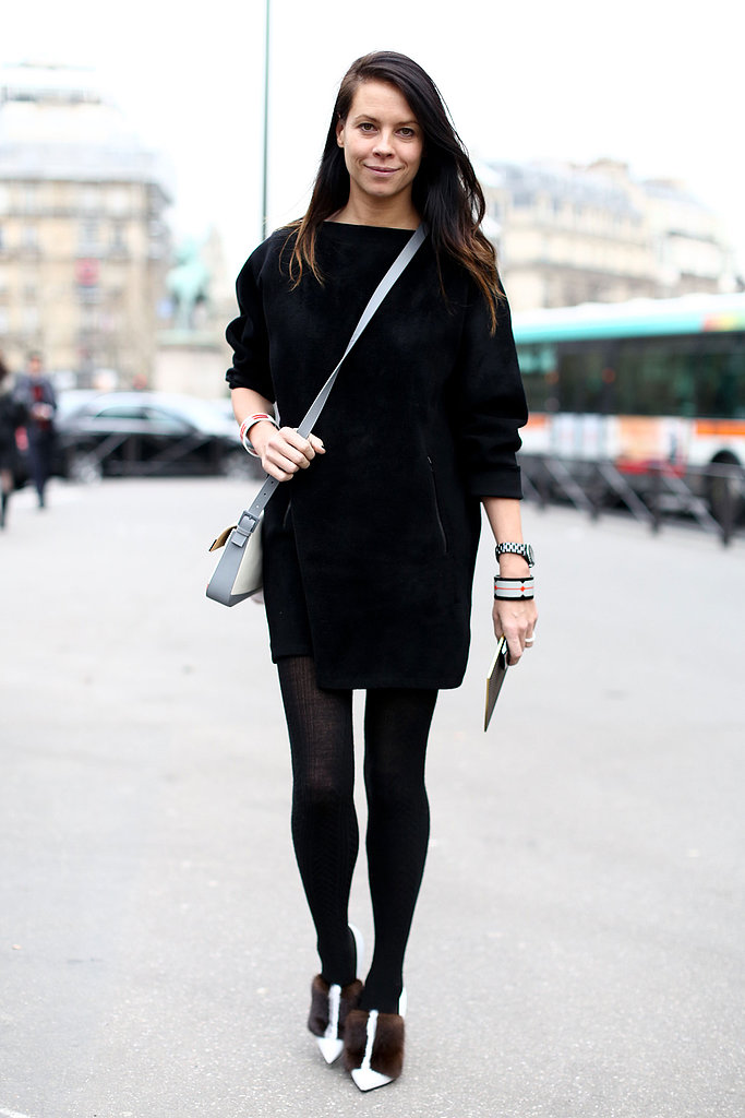 All black was hardly boring; just look at those fur-adorned pumps.