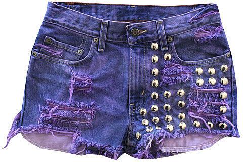 Handmade Vintage Half Studded Purple Shorts in Purple - by RUNWAYDREAMZ