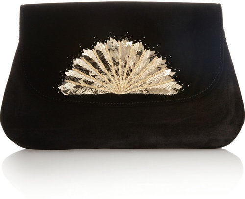 Chloé The Éventail suede clutch