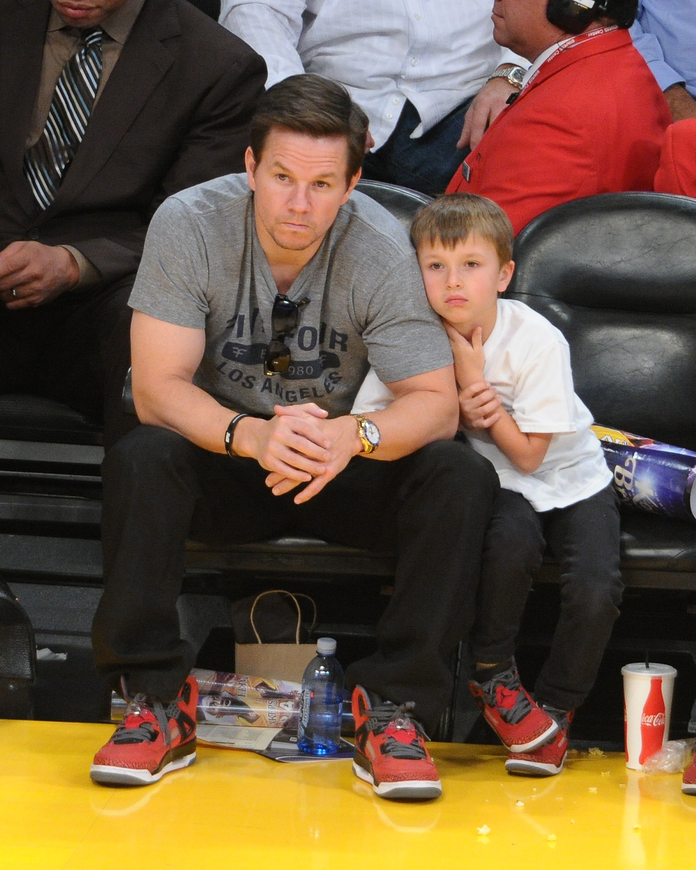 Mark Wahlberg watched the LA Lakers play the Miami Heat with his son Michael in January.