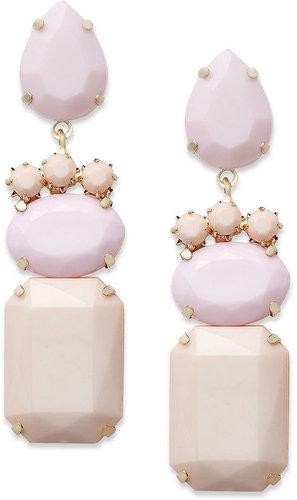 Bar III Earrings, Gold-Tone Pink Opaque Stone Drop Earrings