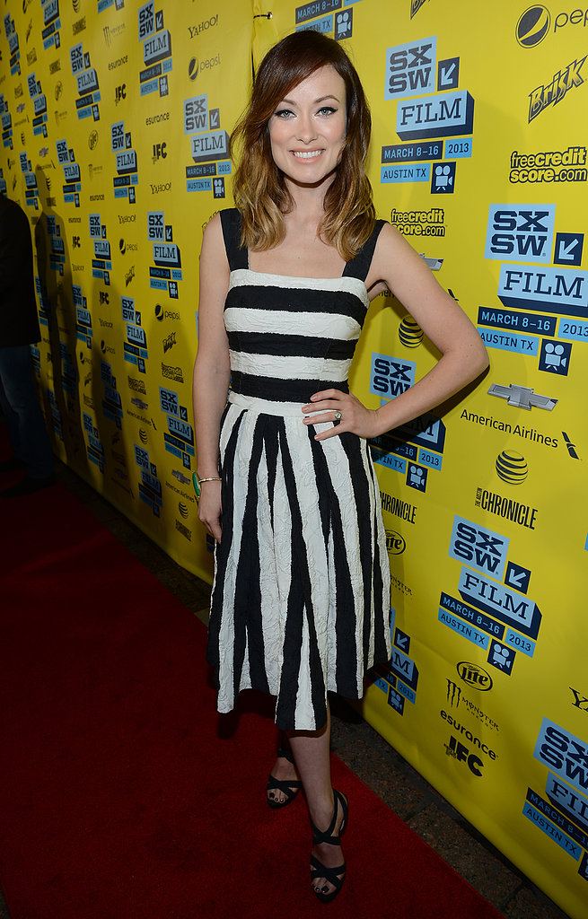 Olivia Wilde was on trend in a black-and-white striped Dolce & Gabbana dress at the Incredible Burt Wonderstone premiere at SXSW in Austin.